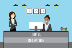 hotel motel reception desk cartoon
