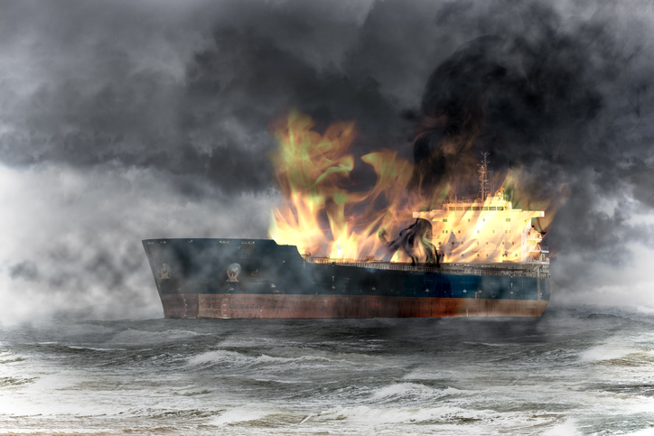 burning ship on sea on fire