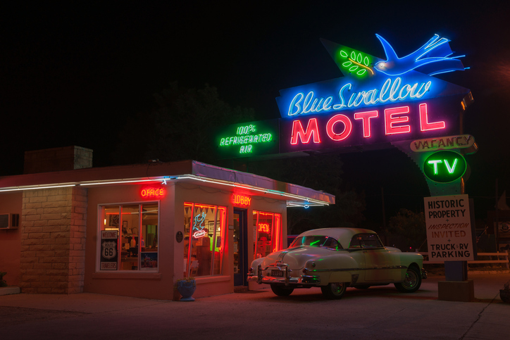 Blue Swallow Motel, Tucumcari, Route 66, New Mexico, USA.