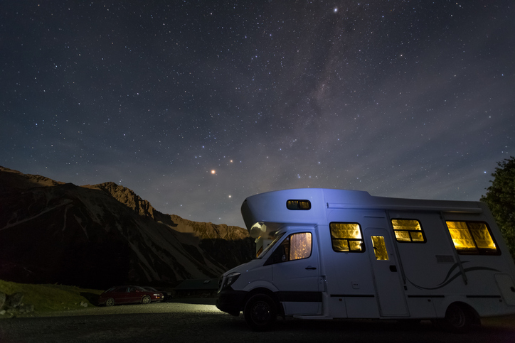 campervan with milky way at night