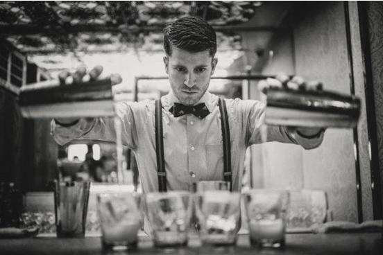 hire a bartender black and white