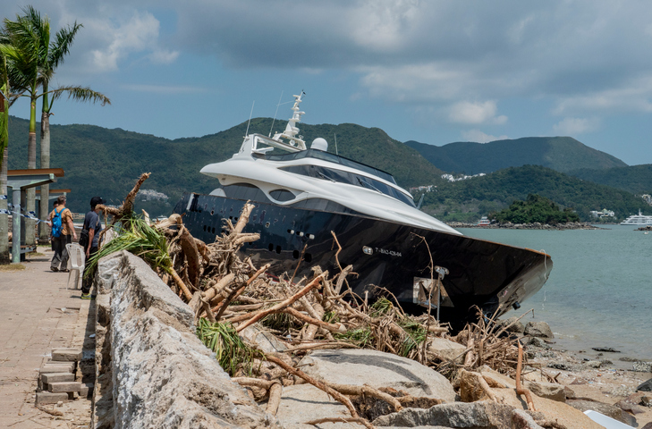 superyacht beached after a storm need insurance