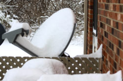 TV Satellite Covered in Snow