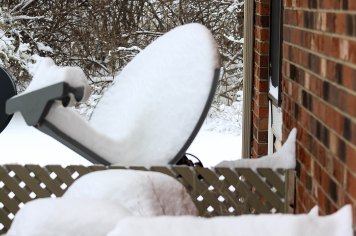 TV Satellite Covered in Snow