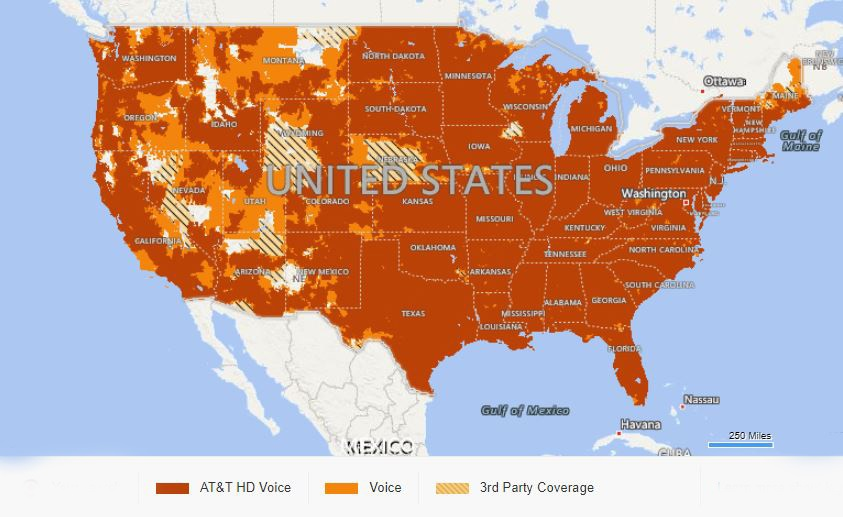 AT&T Mobility coverage map as of November 2018